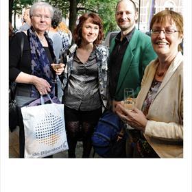4 vrolijke vertalers: Marijke Versluys, Leen Van Den Broucke, David Orthel, Aleid van Eekelen.