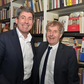 Hans Willem Cortenraad (algemeen directeur CB, Culemborg), Wim Karssen (oud bestuurder Nederlandse Boekverkopersbond).
