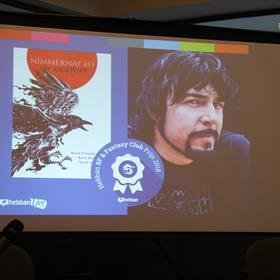 'Nimmernacht' van Jay Kristoff werd bekroond met SF & Fantasy Clubprijs. In een filmpje sprak de auteur de aanwezigen toe.