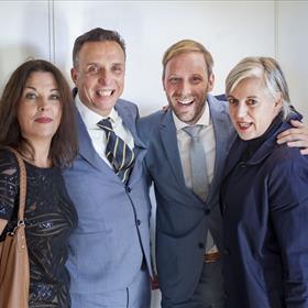 Al vanaf het begin bij S&B: v.l.n.r. Manon Uphoff, Paul Sebes, Willem Bisseling, Patricia de Groot (Querido)