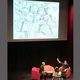 Terry Dentons eerste schets van de eerste boomhut van 13 verdiepingen.