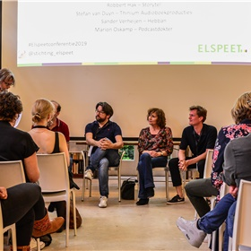 Panelgesprek audio met Stefan van Duyn (Thinium), Sander Verheijen (Hebban), Marion Oskamp (Podcastdokter) en Robbert Hak (Storytel)