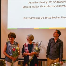 Annelies Harzing, Pauline Goedemans en Gerben de Bruijn waren aanwezig voor de bekendmaking van de shortlist van Beste Boekverkoper van het jaar