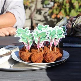 'Bieterballen': vegetarische bitterballen van bieten, met een tzatzikisaus. Heerlijk!