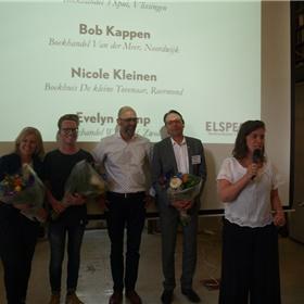 Genomineerd voor Boekverkoper van het Jaar: Nicole Kleinen, Bob Kappen, Remco Houtepen (winnaar 2016), Hubert van Belois